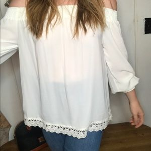 Express • sheer white off the shoulder top